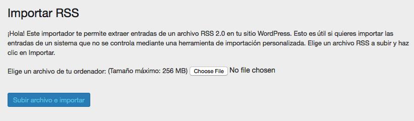 carga tu archivo rss